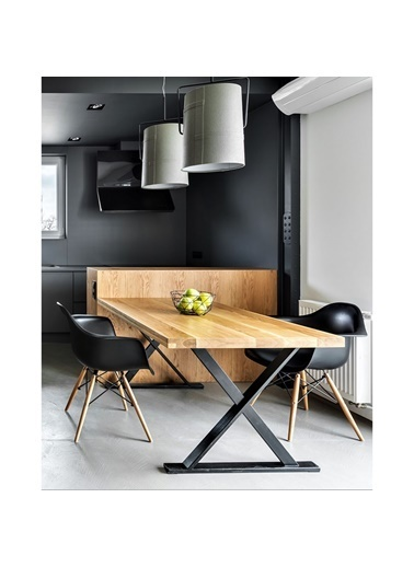 222 Concept Masif Ağaç Tik Renk 200x60x4 cm Yemek Masası Renkli